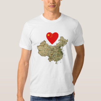 China Flag Heart and Map T-Shirt