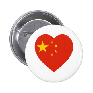 China Flag Heart Pinback Buttons