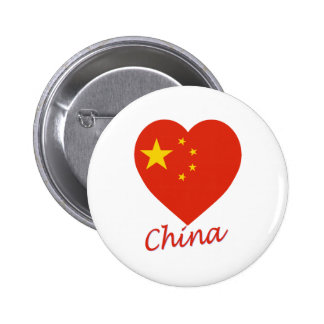 China Flag Heart Buttons