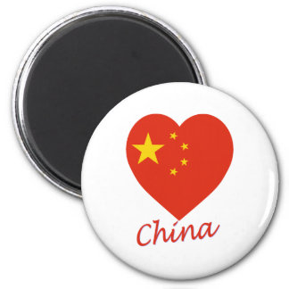 China Flag Heart Magnet