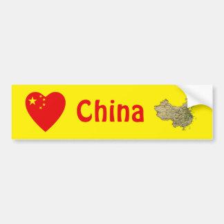China Flag Heart + Map Bumper Sticker