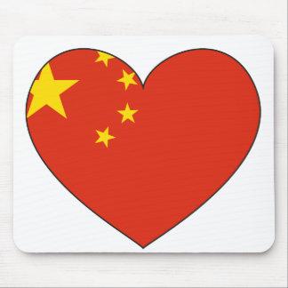 China Flag Heart Mouse Pad