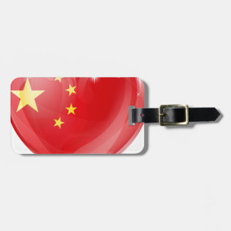 China flag love heart tag for luggage