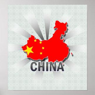China Flag Map 2.0 Poster