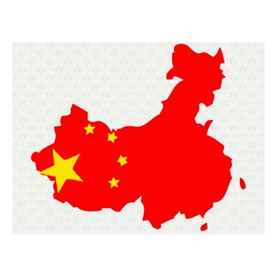 China Flag Map full size Postcard