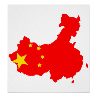 China Flag Map full size Poster