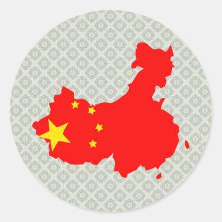 China Flag Map full size Round Sticker