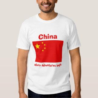 China Flag + Map + Text T-Shirt