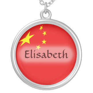 China Flag + Name Necklace