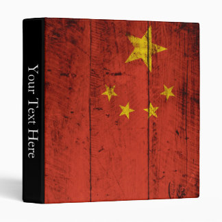 China Flag on Old Wood Grain 3 Ring Binder