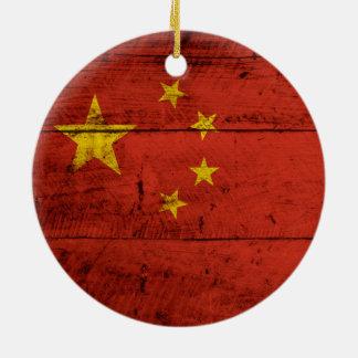 China Flag on Old Wood Grain Ceramic Ornament
