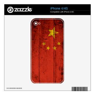 China Flag on Old Wood Grain iPhone 4S Skin