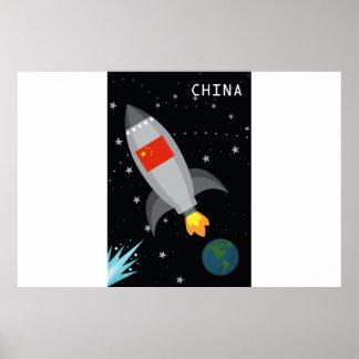 China Flag Rocket Ship Poster