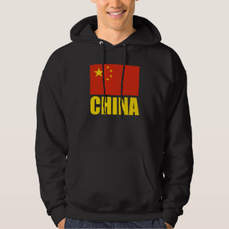 China Flag Yellow Text Hooded Pullover