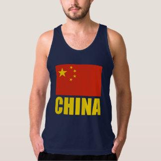 China Flag Yellow Text Tanktop