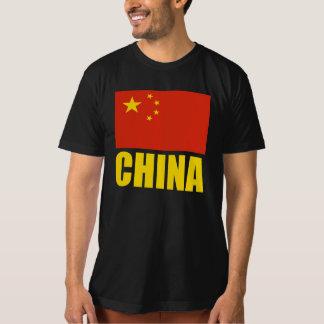 China Flag Yellow Text Tshirt