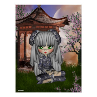 China Girl Beautiful Orient Print Poster