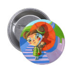China Girl with Pug 2 Inch Round Button