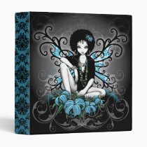 gothic, retro, afro, ethnic, faery, fairy, fae, faerie, fairies, fantasy, art, myka, jelina, mika, flowers, lillies, teal, fine art, Binder with custom graphic design