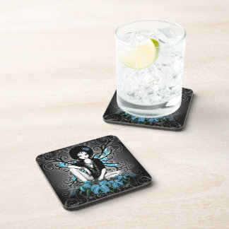 """""""China"""" Gothic Teal Retro Flower Fairy Coasters"""
