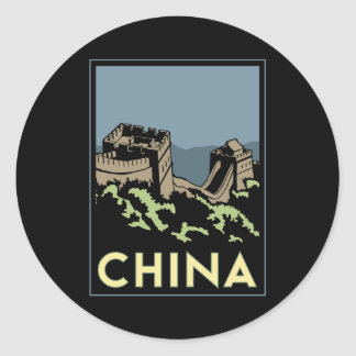 china great wall asia art deco retro travel classic round sticker