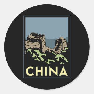 china great wall asia art deco retro travel classic round sticker
