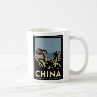 china great wall asia art deco retro travel coffee mug