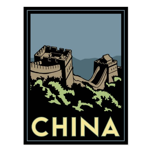 china great wall asia art deco retro travel post cards