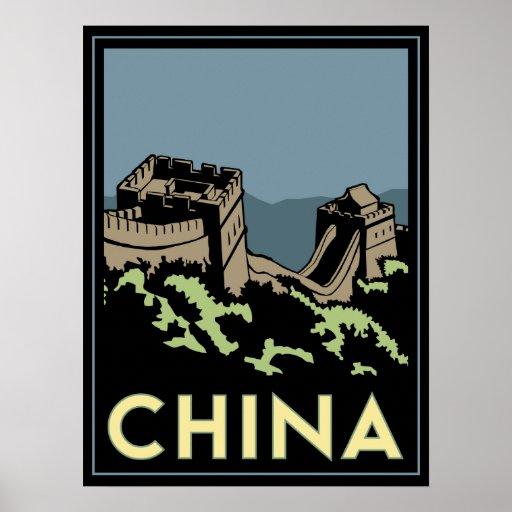 china great wall asia art deco retro travel poster