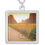 China, Guangxi. Yangzhou, Bicycle on country Square Pendant Necklace