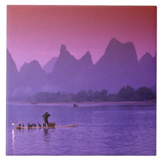 China, Guanxi. Cormorán del río de Li solo Azulejo Cuadrado Grande
