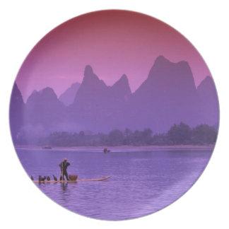 China, Guanxi. Li river single cormorant Party Plate