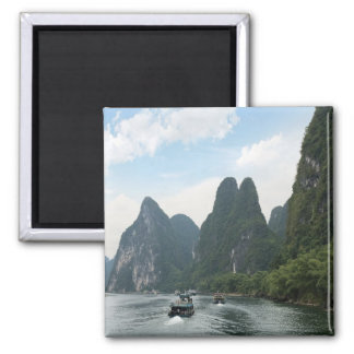 China, Guilin, Li River, River boats line the 2 Inch Square Magnet