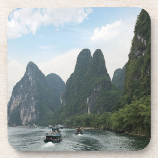 China, Guilin, Li River, River boats line the Beverage Coaster