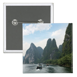 China, Guilin, Li River, River boats line the Button