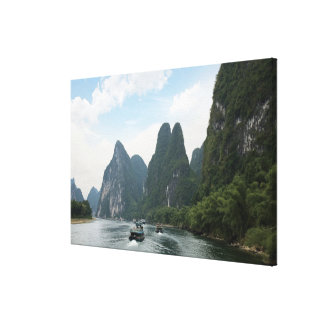 China, Guilin, Li River, River boats line the Canvas Print