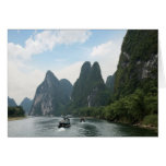 China, Guilin, Li River, River boats line the Card