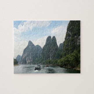 China, Guilin, Li River, River boats line the Jigsaw Puzzle