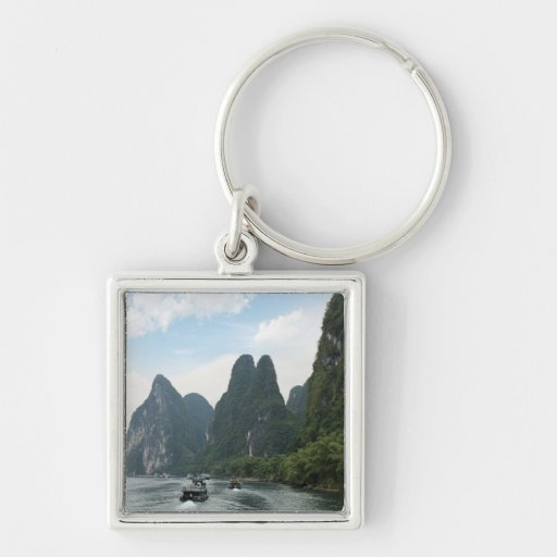 China, Guilin, Li River, River boats line the Keychains