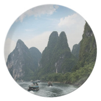 China, Guilin, Li River, River boats line the Melamine Plate