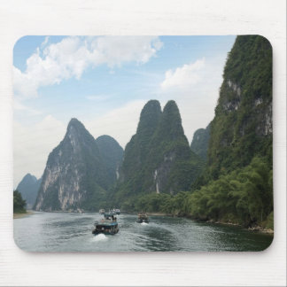 China, Guilin, Li River, River boats line the Mouse Pad