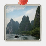 China, Guilin, Li River, River boats line the Christmas Ornament