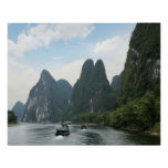 China, Guilin, Li River, River boats line the Posters