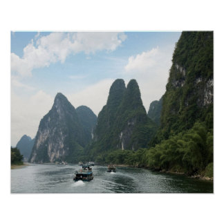 China, Guilin, Li River, River boats line the Poster