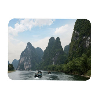 China, Guilin, Li River, River boats line the Rectangular Photo Magnet