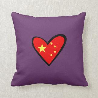 China heart Flag Throw Pillow