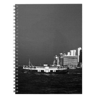 China Hong Kong boat skyscraper sea 1970 Notebook