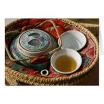 China, Hong Kong. Traditional Chinese teapot & 3 Greeting Card