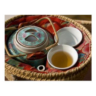 China, Hong Kong. Traditional Chinese teapot & 3 Postcard