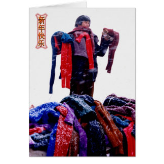 China in winter, Market trader selling scarves Card